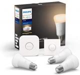 Philips Lighting Hue White Starter Kit con 3 Lampadine Attacco E27, con Bluetooth, Luce Bianca Calda Dimmerabile + 1 Bridge Hue Controllo + 1 Telecomando Hue Smart Button, Bianco
