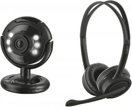 Trust Spotlight Pro Webcam Per Pc Da 1.3 Megapixel Con Microfono, Luci Led Integrate & Mauro 17591 Cuffie Usb Con Microfono, Nero