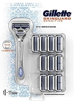 Gillette SkinGuard Sensitive Rasoio Pelli Sensibili Uomo + 11 Lamette di Ricarica