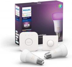 Philips Lighting Hue White and Color Starter Kit con 2 Lampadine + 1 Bridge Hue + Telecomando Hue Smart Button