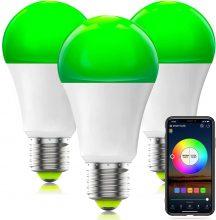 HaoDeng Smart WiFi Lampadina Alexa, dimmerabile Multicolor E27 A19 7W (equivalente 60w) – 3 pezzi