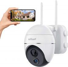ieGeek Telecamera WiFi Esterno FHD 1080P 360° PTZ Videocamera,15000mAh Telecamera Batteria Senza Fili