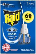 Raid Liquido Elettrico con Diffusore Efficace contro Zanzare Tigre e Zanzare Comuni 60 Notti, 1 Confezione da 36 ml