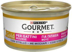 Purina Gourmet Gold Umido Gatto Mousse per Gattini con Vitello, 24 Lattine da 85 g