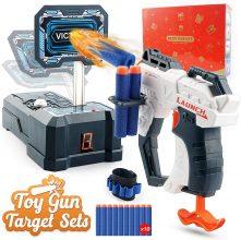 HOPOCO Giocattolo Pistola a Proiettile in Schiuma e Set di Tiro al Bersaglio Digitale per Nerf Guns