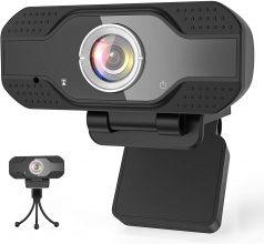 Mksutary Webcam 1080P Full HD con Microfono e Treppiedi