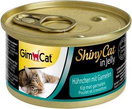 GimCat ShinyCat in gelatina pollo e gamberetto – 24 Lattine (24 x 70 g)
