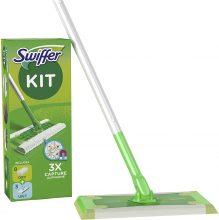 Swiffer Starter Kit Scopa Lavapavimenti, Include 1 Scopa, 8 Panni Asciutti, 3 Panni Umidi