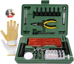 TECCPO Kit di Riparazione Pneumatici, 100 Pezzi Set di Riparazione per Pneumatici