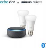 Echo Dot (3ª generazione) Altoparlante smart + Philips Hue White Lampadine intelligenti a LED (Pacco da 2)