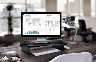 Meliconi Rotobridge Elite M – Supporto con Base in Metallo e Piano Girevole a 360° in Vetro per TV e Monitor PC, Portata massima 70 kg, Nero, M