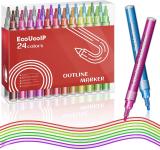 EooUooIP Penne a Vernice acrilica, 24 colori doppia linea