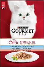 PURINA GOURMET MON PETIT Umido Gatto Delicate Creazioni con Pesce, con Merluzzo, Sardina, Salmone – 48 buste da 50g