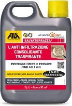 SALVATERRAZZA, Idrorepellente per Terrazzi ed Esterni ad Azione Consolidante e Anti Infiltrazione, 1L