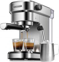 Cozeemax Macchina da Caffè Espresso Manuale e Cappuccino, Caffè in Polvere o in Cialde E.S.E., 15 bar