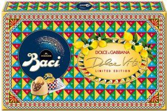 BACI PERUGINA LIMITED EDITION DOLCE VITA Cioccolatini Ripieni con Granella al Gusto Limone e Nocciola Intera Scatola Regalo 150g