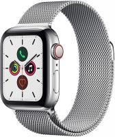 Apple Watch Series 5 (GPS + Cellular, 44 mm) Cassa in Acciaio Inossidabile e Loop in Maglia Milanese