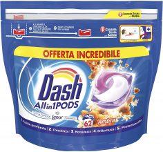 Dash All in 1 Pods Detersivo Lavatrice in Capsule, 62 Lavaggi – Ambra