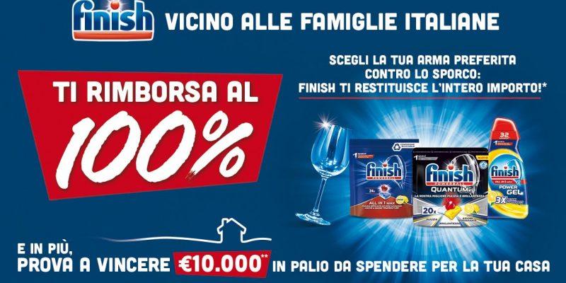 """Finish """"Vicino alle famiglie italiane"""": Rimborso completo su una selezione di prodotti Finish"""
