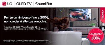 Cashback LG: rimborso fino a 300€  su TV OLED e Soundbar