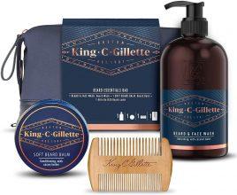 King C. Gillette Astuccio Kit Regalo da Uomo per la Cura della Barba