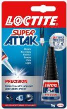 Loctite Super Attak Precision, Colla liquida trasparente con beccuccio extra lungo, 1 x 5g