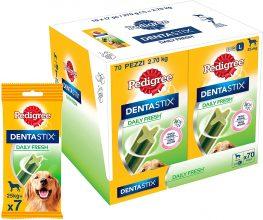 Pedigree Dentastix Fresh 70 Snack per la Igiene Orale (Cane Grande 25 kg+) – 10 Pacchetti (70 Bastoncini in totale)