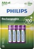 Philips Pile ricaricabili Batteria AAA R03B4A70/10 , 700 mAh, Confezione da 4 Pezzi