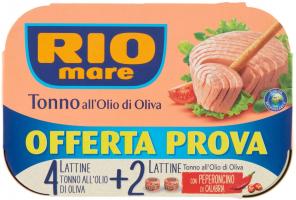 Rio Mare, Tonno all'Olio di Oliva, Qualità Pinne Gialle, 6 Lattine da 80 g