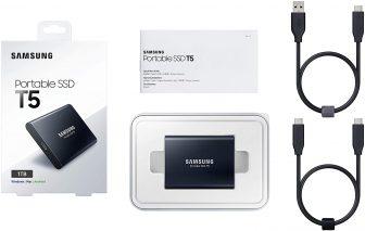 Samsung Memorie T5 da 1 TB, USB 3.1 Gen 2, SSD Esterno Portatile (MU-PA1T0B)