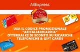 Sconto di 2€ su ALIEXPRESS sulle ricariche Telefoniche