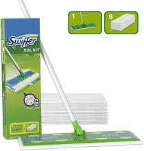 Swiffer Starter Kit XXL Scopa con 1 Manico + 8 Panni di Ricambio