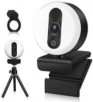 Tensphy Webcam HD 2K con microfono e anello luminoso