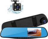 "Topsale-ycld 4.3 ""1080P Dual Lens Car Auto DVR Mirror Dash Cam Recorder + Kit telecamera posteriore"